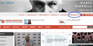 ThinkingAbout.EU nella barra menu del sito ufficiale di Radio Radicale